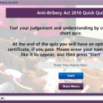 2nd screenshot of the Anti-Bribery Act training module I created