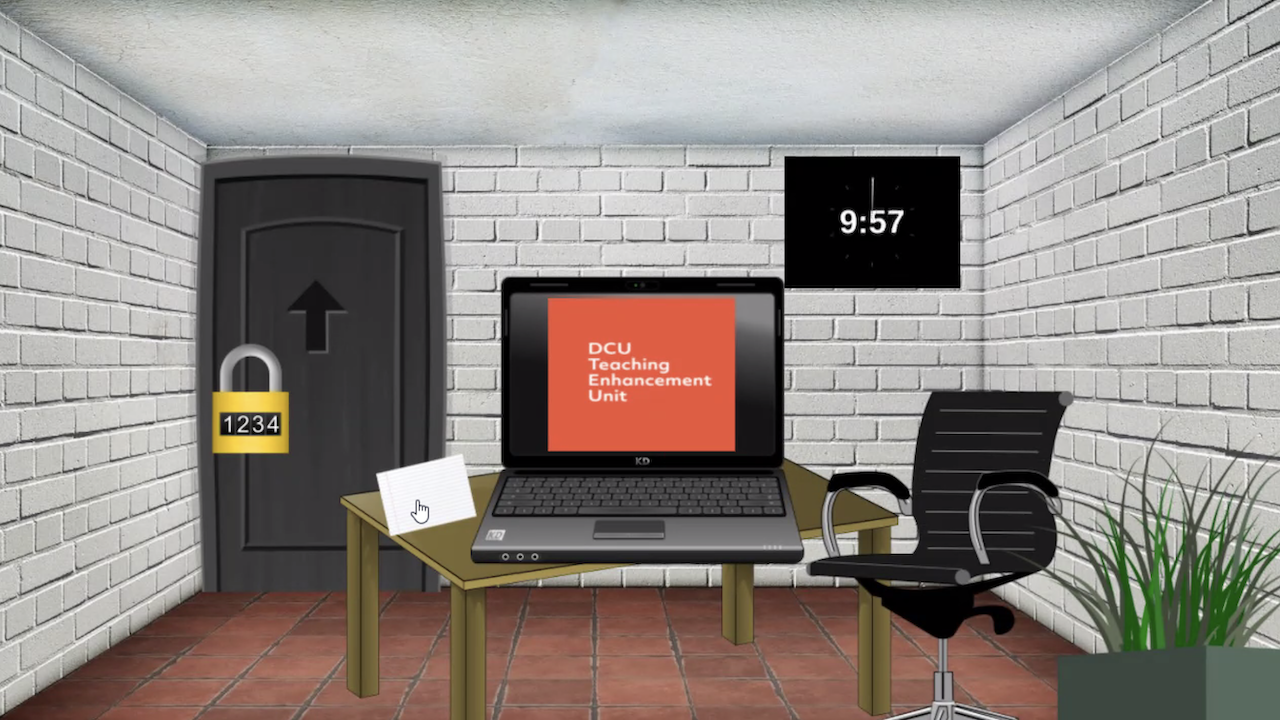 A virtual escape room example, from DCU