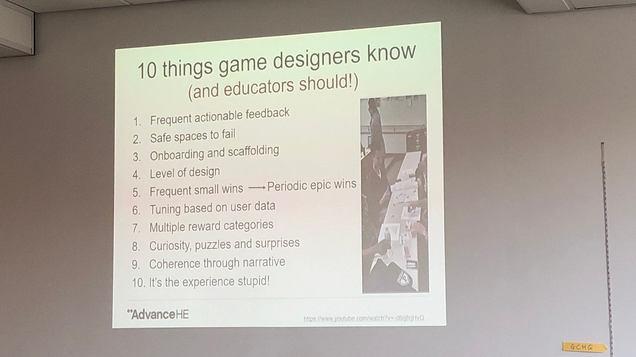 Photo of a slide with game design tips