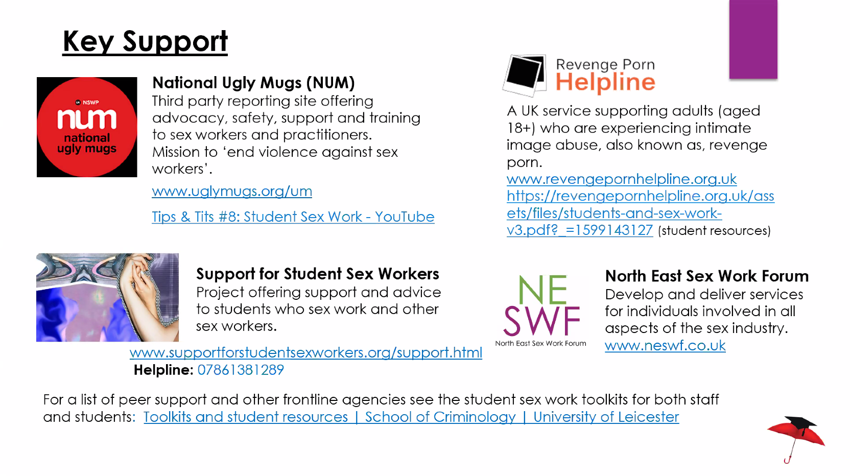 Sex Work Support Resources for Students