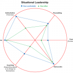 Chart showing my scores on the situational leadership model