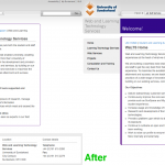 Before and after screenshots of our website